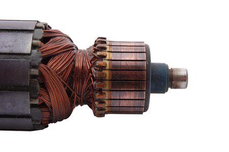 Rotore del motore elettrico isolato su bianco Archivio Fotografico