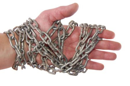man  hand isolated on white with chain Stock Photo - 3869467