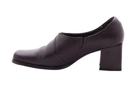 woman black shoe isolated on white photo