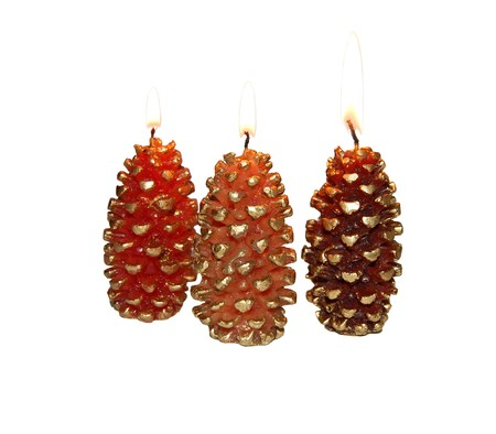 pine cone wax candles isolated on white