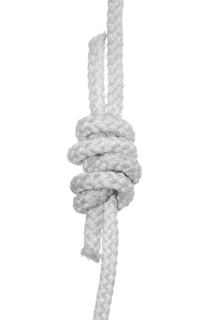 nylon string: The Grapvine knots (Double Fishermans knot) for the two rope Stock Photo