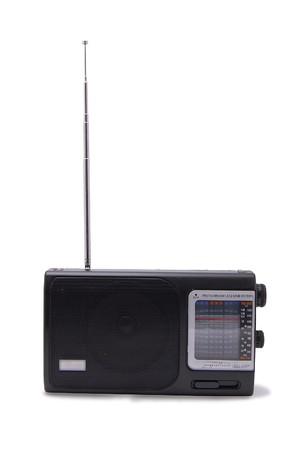 ricevitore radio isolato nero su sfondo bianco Archivio Fotografico