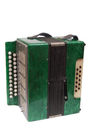 Green Accordion, isolated on white background Stock Photo