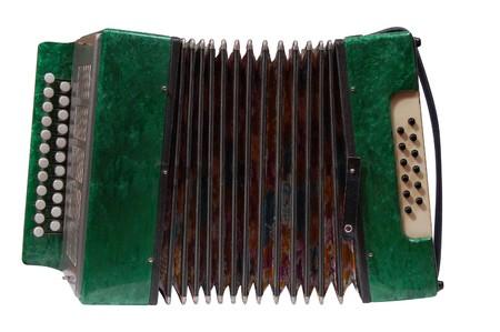 Verde della fisarmonica, isolato su sfondo bianco  Archivio Fotografico