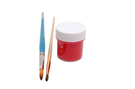 Two brushes and paint can Stock Photo - 4101166