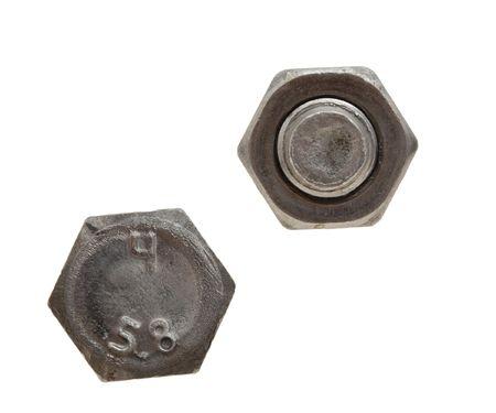 tuercas y tornillos: Perno y tuerca aislado en un fondo blanco