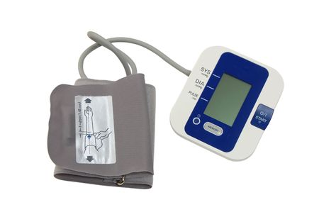 arterial: Electronic device for measurement of arterial pressure isolated on the white