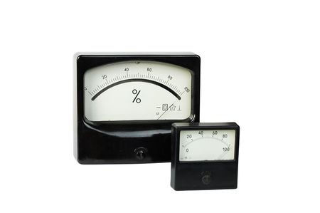 voltmeter: Percent-metre and the voltmeter isolated on a white background