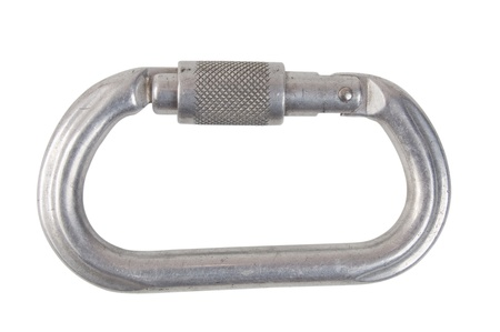 carabiner: climbing carabiner, isolated on white