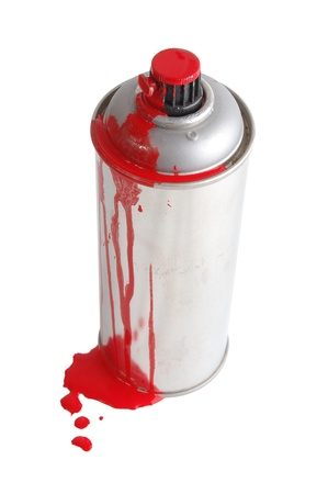 aerosol can: The aerosol painting spray soiled by a red paint isolated on white