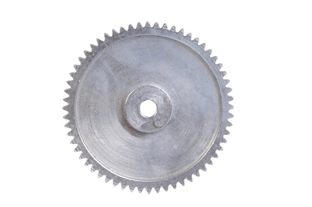Gear wheel isolated on white, front view photo
