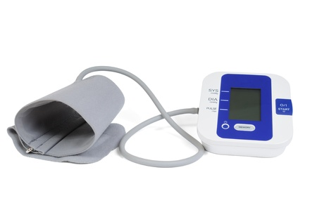 Electronic automatic tonometer for control of arterial pressure, isolated on white bacground photo