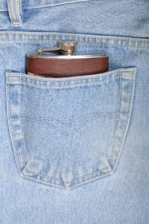 predilection: Flask close up in a hip-pocket of jeans