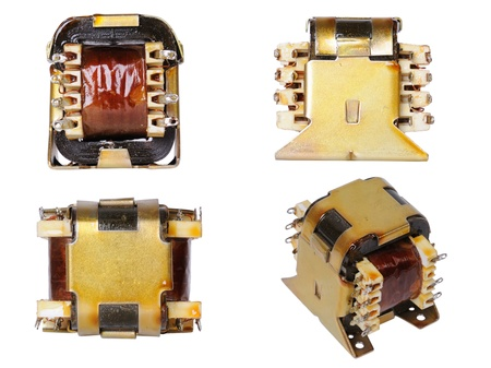 transformator: Low-power Electric Transformer, isolated on white  Four view  Stock Photo