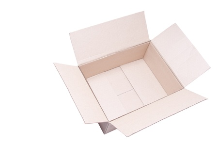 Open cardboard box isolated on a white