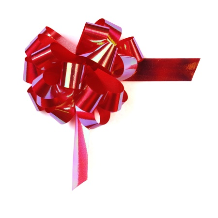 Isolated Shiny Red Bow  on a white background  Stock Photo - 13803904