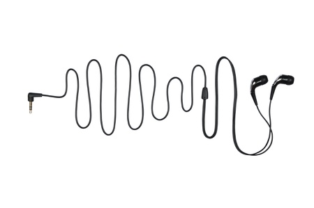 Headphone with a cable in the sinusoid form isolated on a white