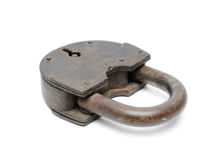 Ancient iron lock isolated on a white background  Stock Photo - 16145235