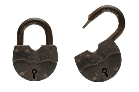 open and closed padlocks isolated om white Stock Photo - 16481631