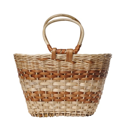 bast: Wattled basket with the handle on a white background  Stock Photo