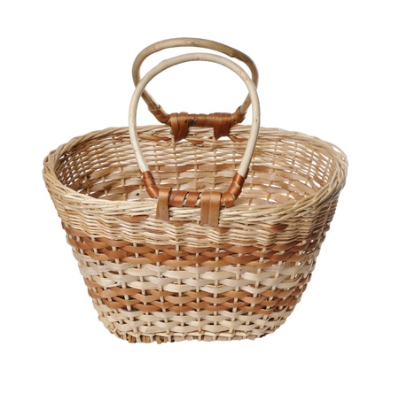 cepelia: Wattled basket with the handle on a white background  Stock Photo