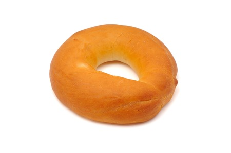 doughy: A plain bagel isolated on a white background