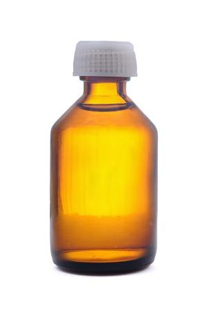 Bottiglia di vetro medica isolato su bianco