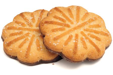Biscotti al cioccolato isolati su uno sfondo bianco Archivio Fotografico