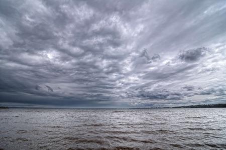 dark sky: Dark cloudy sky on the Volga River