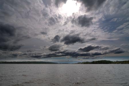 volga river: Dark cloudy sky on the Volga River