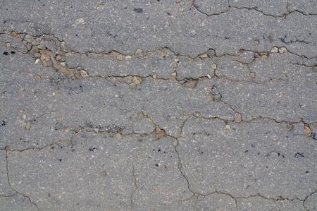 Macro closeup on concrete asphalt cracks on the road Stock Photo