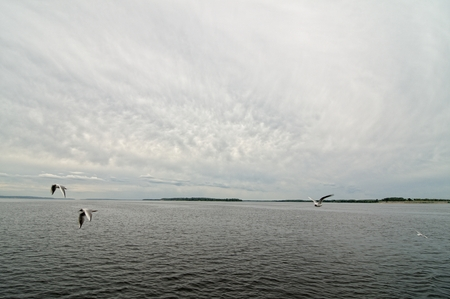 Cloudy sky on the river