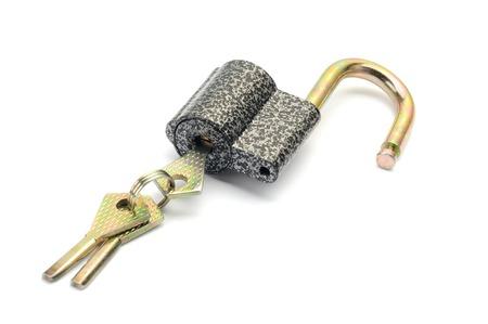 Metallic padlock with three keys Stock Photo