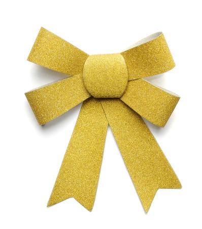 Yellow Ribbon Bow isolated on White Background Stock Photo