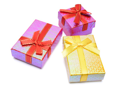 Three gift box studio isolated on white Stock Photo
