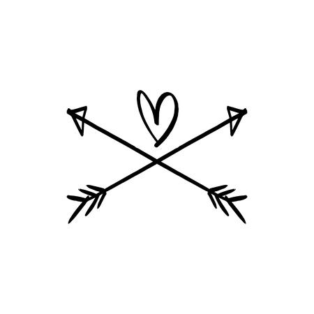Étiquette d'amour. Imprimé bohème pour cartes, affiches et plus encore. Illustration vectorielle Vecteurs
