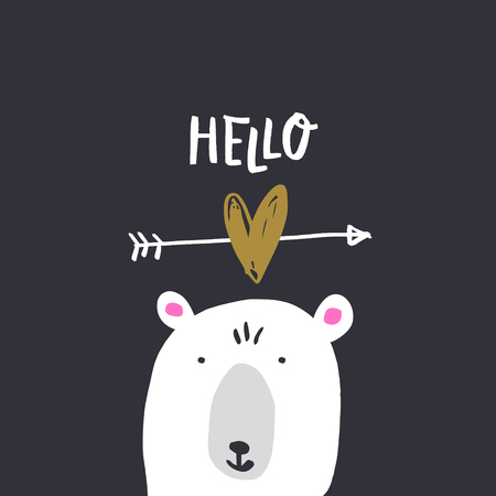 Nursery poster and postcard with bear, lettering. Vector, clipart