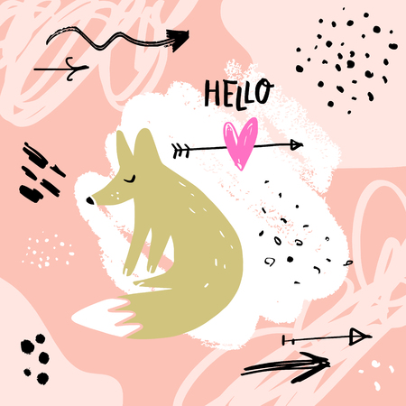Nursery lettering poster and postcard with cute stylish fox. Vector, clipart