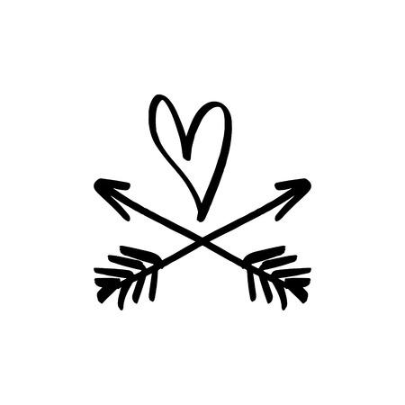 Étiquette d'amour. Imprimé bohème pour cartes, affiches et plus encore. Illustration vectorielle