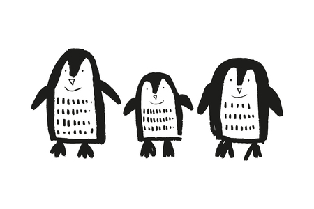 Cute nursery hand drawn little penguins, baby animal print. Vector illustration, scandinavian style Ilustração Vetorial