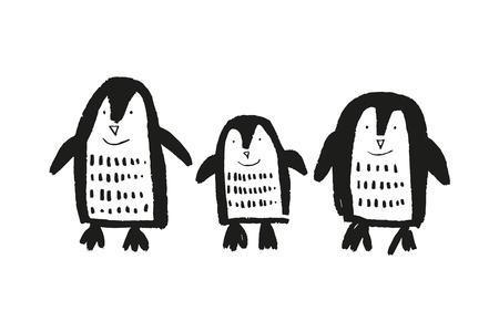 Mignons petits pingouins dessinés à la main, imprimé bébé animal. Illustration vectorielle, style scandinave Vecteurs