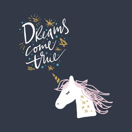 Vector cute unicorn illustration, card and t-shirt design Imagens - 115937174