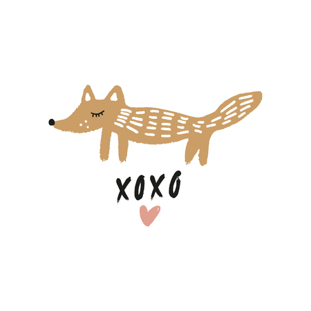 Vector cute hand drawn doodle fox. Scandinavian style kids graphic