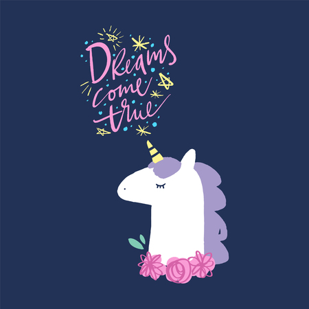 Vector cute unicorn illustration, card and t-shirt design Stock fotó - 115937387