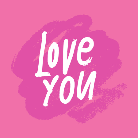 Love you Valentine's Day text vector postcard, background