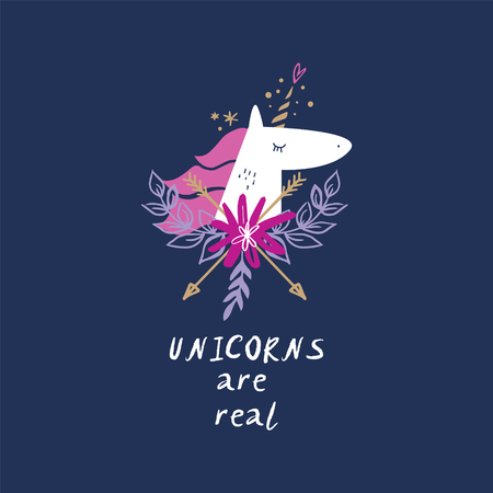 Unicorns are real. Vector cute unicorn head illustration, card and t-shirt design. Nursery art