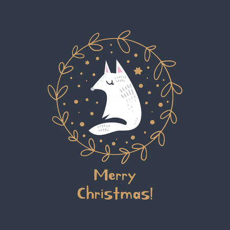 Merry Christmas. Vector cute winter Noel postcard with arctic fox and golden wreath. Nursery holiday illustration. It can be used for wall art, greeting card, poster, kids apparel Vettoriali