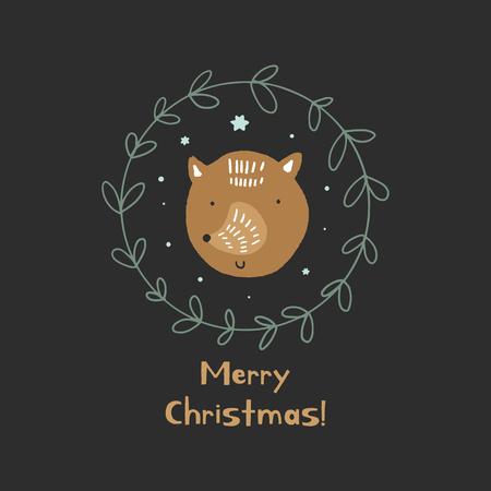 Buon Natale. Cartolina di Noel inverno carino vettoriale con volpe e corona verde. Illustrazione di vacanza della scuola materna. Può essere utilizzato per wall art, biglietti di auguri, poster, abbigliamento per bambini