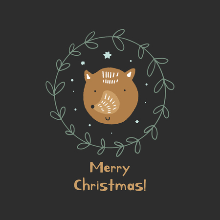 Merry Christmas. Vector cute winter Noel postcard with fox and green wreath. Nursery holiday illustration. It can be used for wall art, greeting card, poster, kids apparel