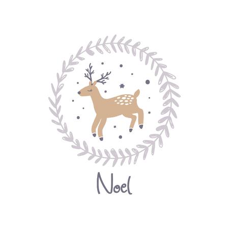 Buon Natale. Cartolina di vettore carino inverno Noel colori pastello con cervi e corona. Illustrazione di vacanza della scuola materna. Può essere utilizzato per wall art, biglietti di auguri, poster, abbigliamento per bambini